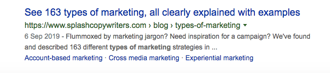 A meta description that specifically refers to a blog post